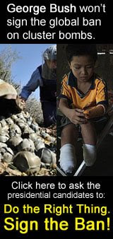 George Bush won't sign the ban on cluster bombs. Do the right thin sign the ban.