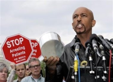 photo of Montel Williams speaking in support of legalization of marijuana for medical uses