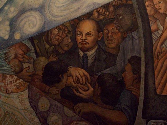 Mark karlin visual arts the left front radical art for Diego rivera rockefeller center mural