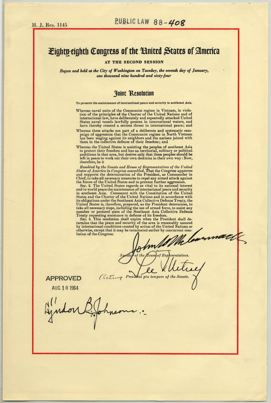 essay on the gulf of tonkin The gulf of tonkin resolution or the southeast asia resolution, publ 88–408, 78 stat 384, enacted august 10, 1964, was a joint resolution that the united states congress passed on august.