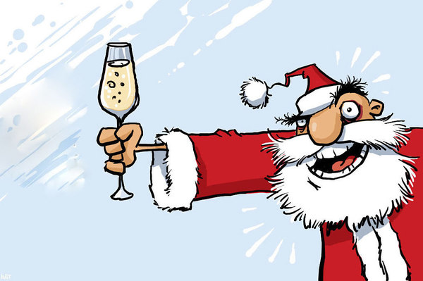 Santa cartoon with champagne