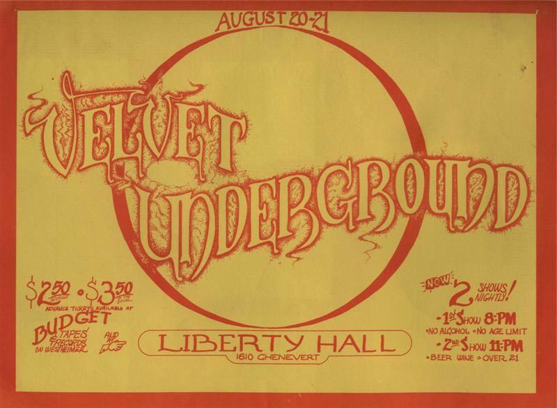 Liberty Hall Velvet Underground poster