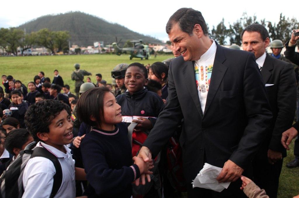 Rafael Correa in Otavalo, Ecuador