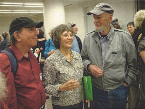 Lawrence Ferlinghetti, right, Nancy Peters, and Jonah Raskin.