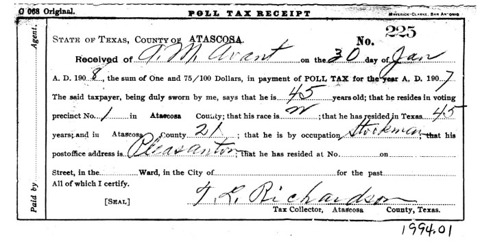 Bob Feldman : Disenfranchising Black Voters in Texas, 1890-1920 ...